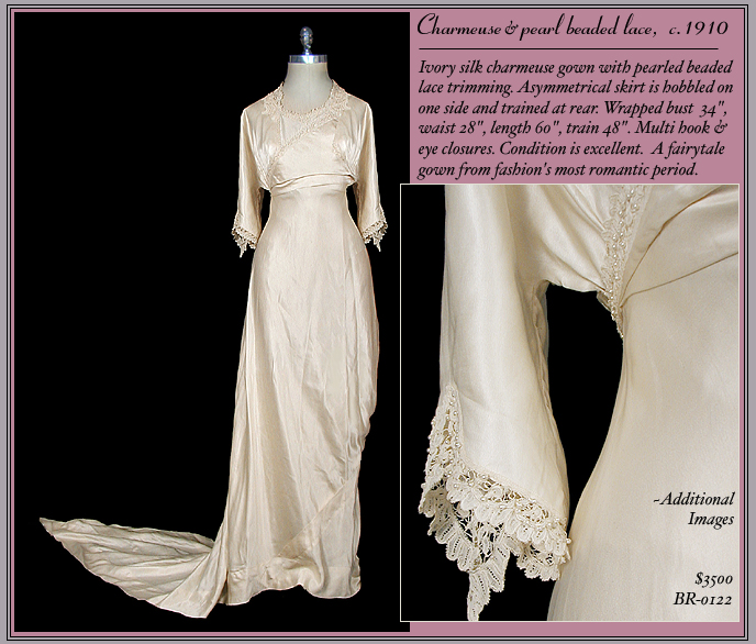 Antique edwardian wedding gown with train